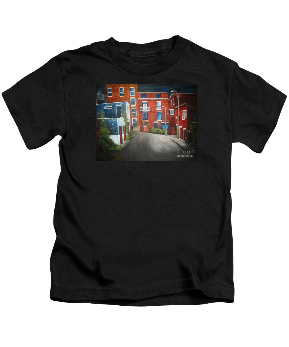 Montreal Kids T-Shirt featuring the painting Streets Of Montreal Joly by Reb Frost