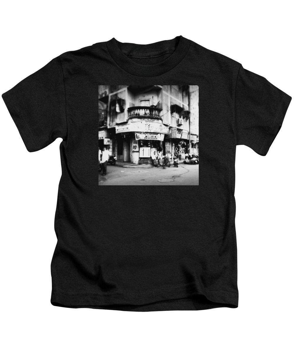 #street Photograohy #crossroads #street Corners #street Shops Kids T-Shirt featuring the photograph Streetshots_surat by Priyanka Dave