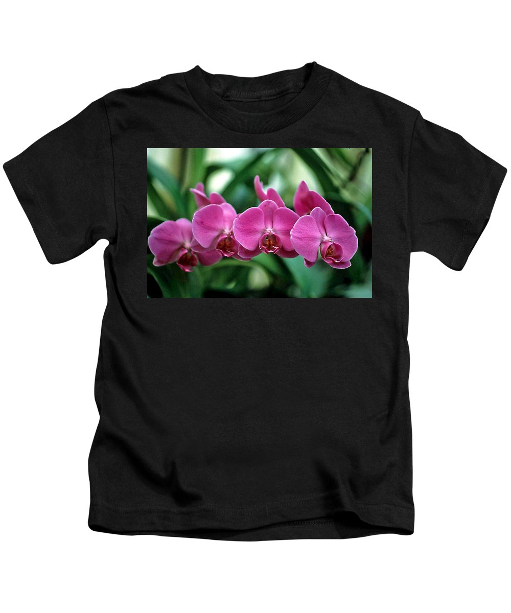 Orchids Kids T-Shirt featuring the photograph String Of Pearls by Laurie Paci