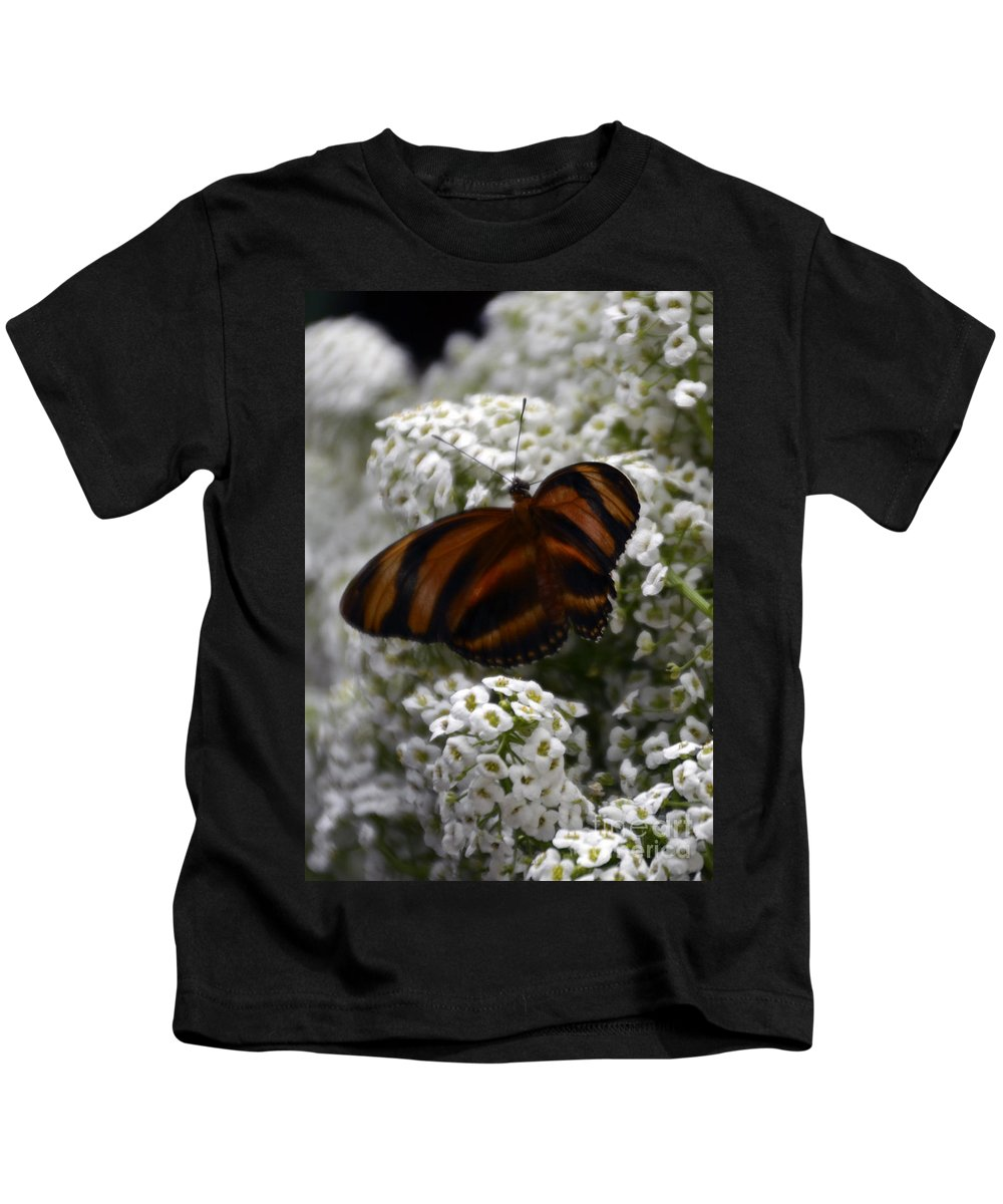 Butterfly Kids T-Shirt featuring the photograph Stripes On Petals by Mithayil Lee