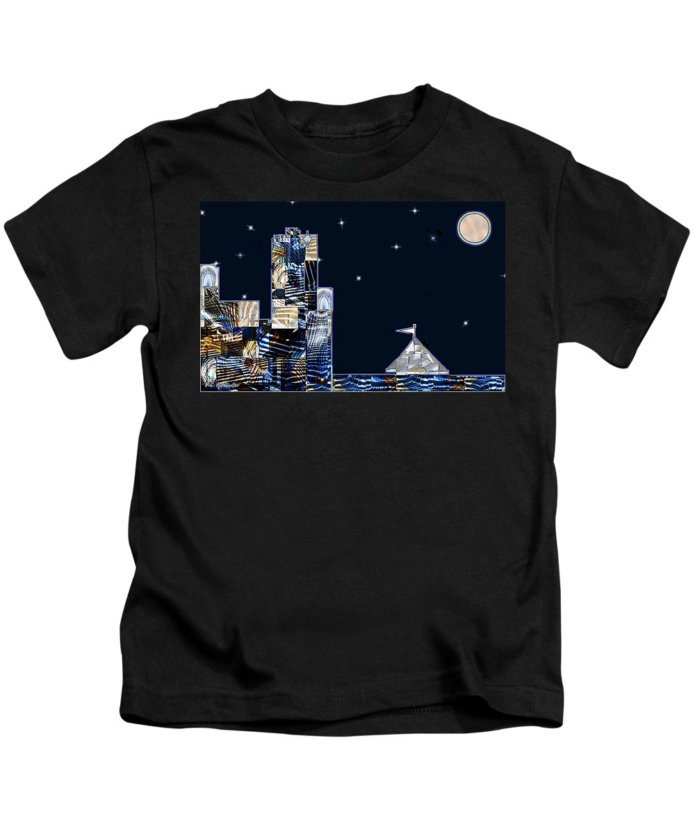 Abstract Kids T-Shirt featuring the painting Strolling Along The Seine At 3 Am by RC DeWinter