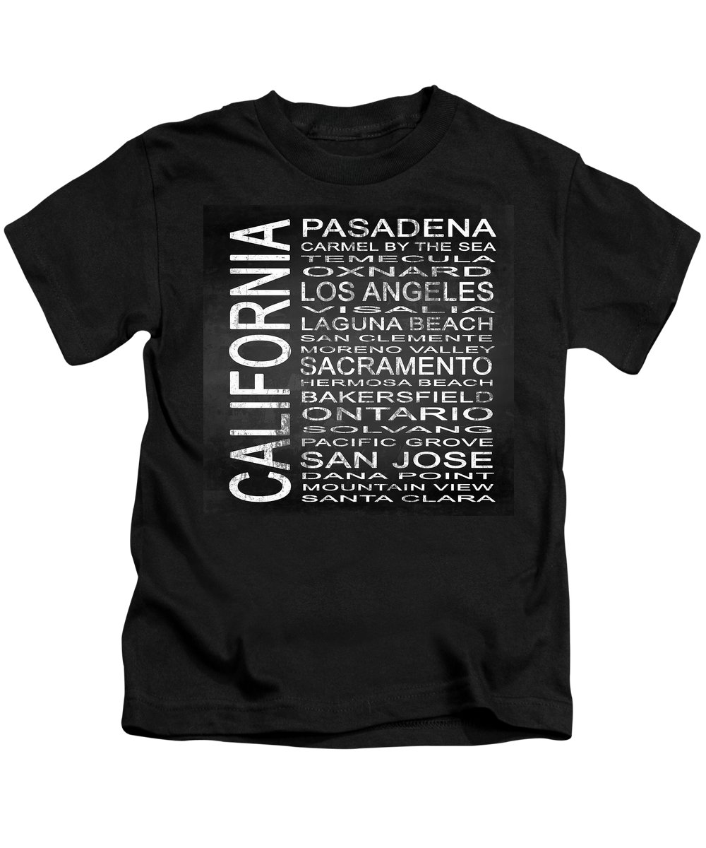 Subway Sign Kids T-Shirt featuring the digital art Subway California State 2 Square by Melissa Smith