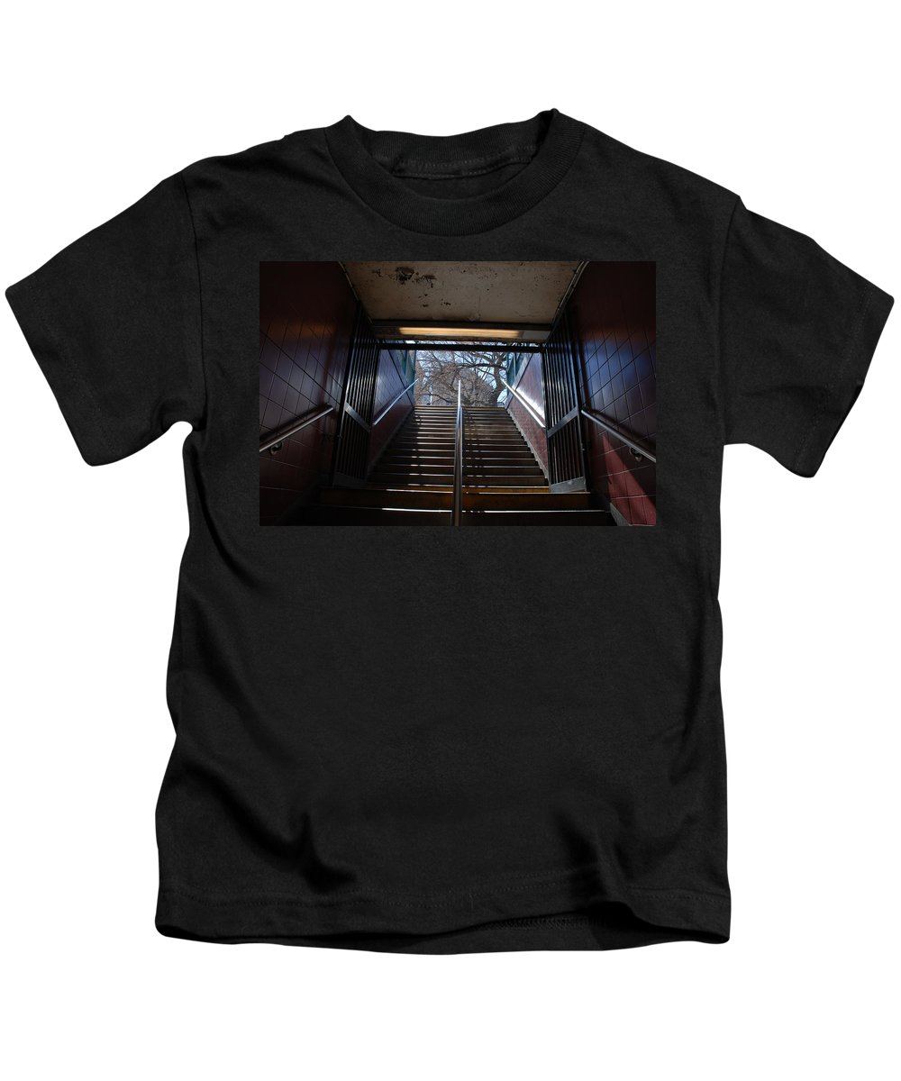 Pop Art Kids T-Shirt featuring the photograph Subway Stairs To Freedom by Rob Hans