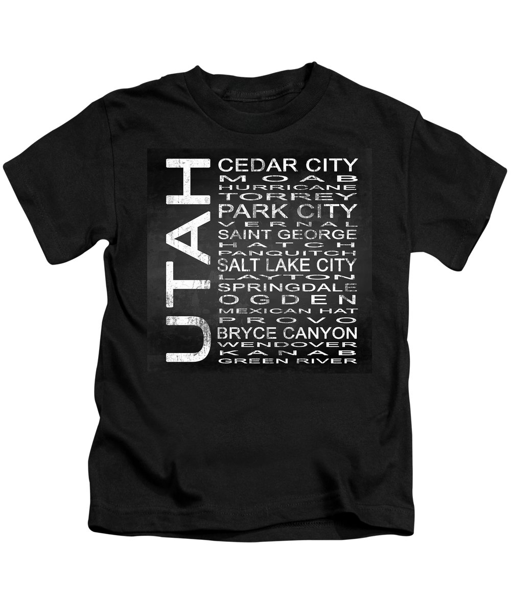 Subway Sign Kids T-Shirt featuring the digital art Subway Utah State Square by Melissa Smith