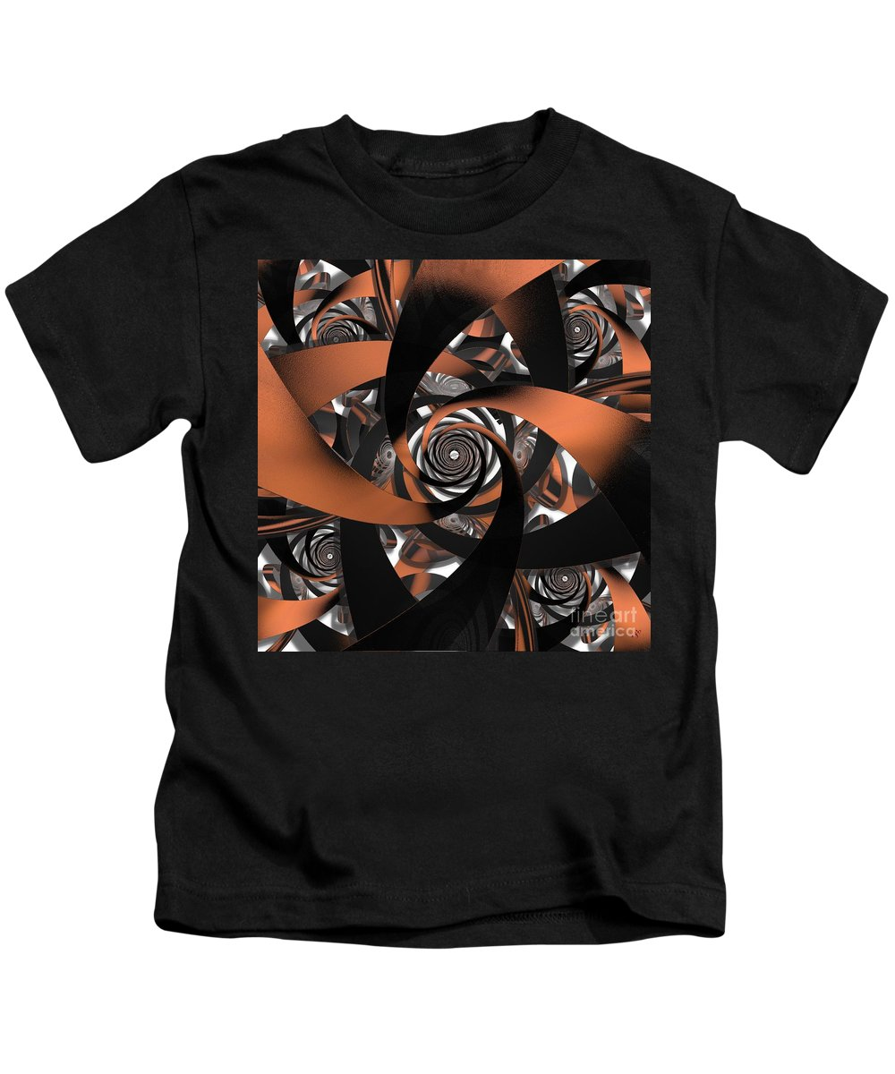 Fractal Kids T-Shirt featuring the digital art Suede Spiral by Ron Bissett