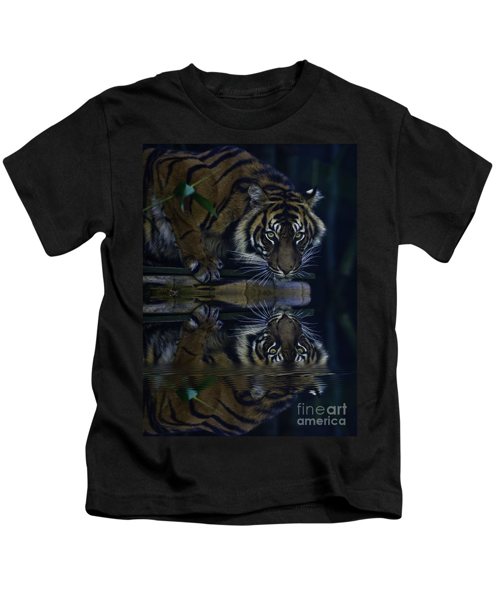 Sumatran Tiger Kids T-Shirt featuring the photograph Sumatran Tiger Reflection by Sheila Smart Fine Art Photography