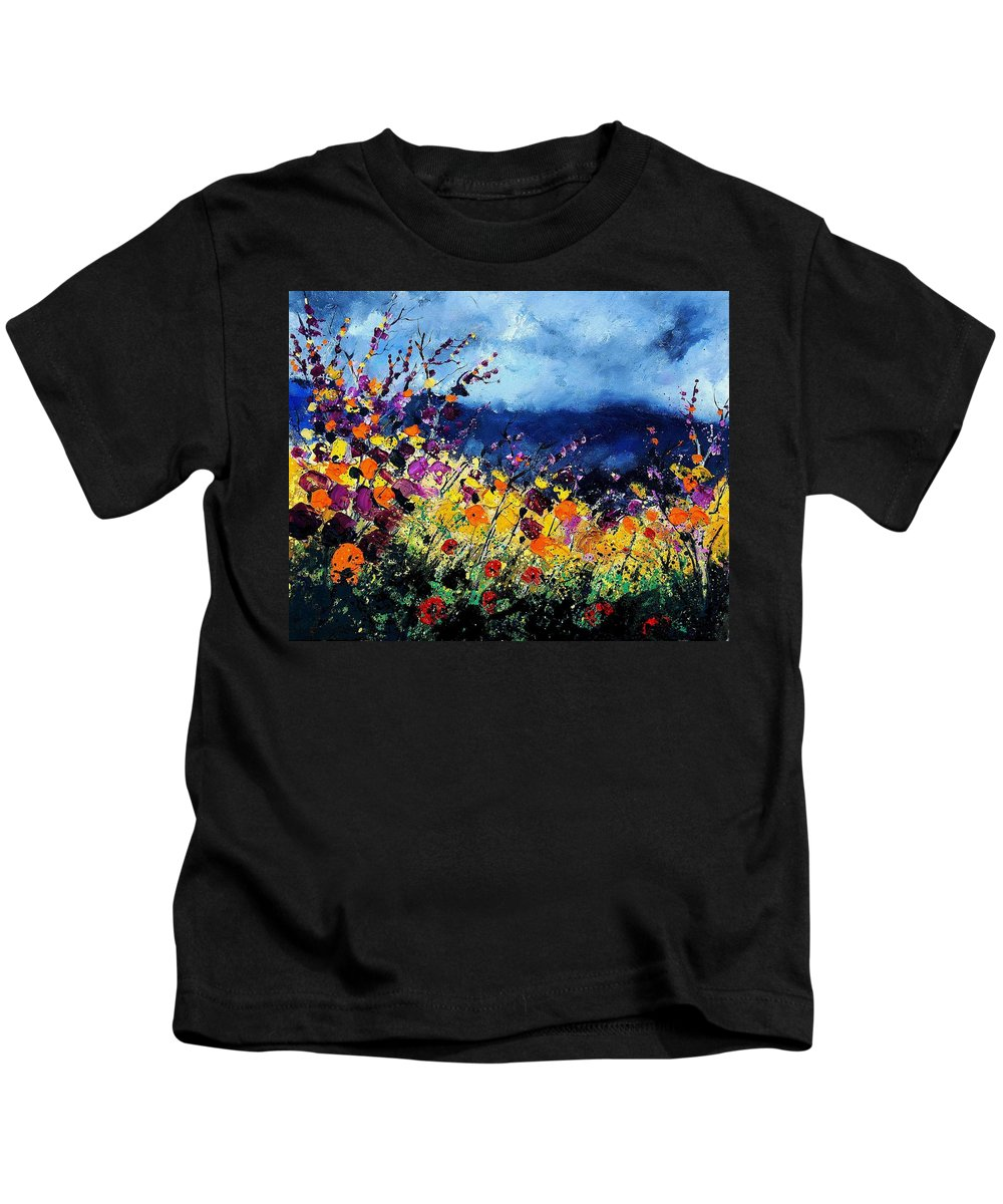 Poppy Kids T-Shirt featuring the painting Summer 45 by Pol Ledent