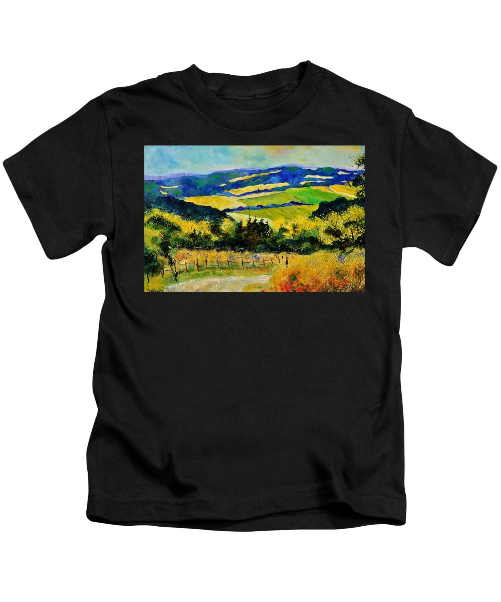 Landscape Kids T-Shirt featuring the painting Summer Landscape by Pol Ledent
