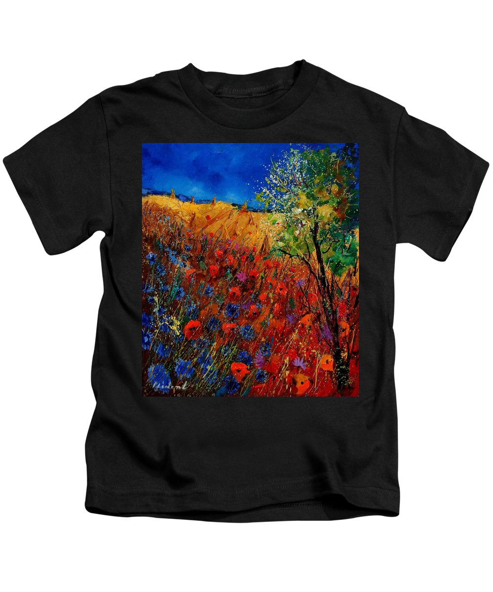 Flowers Kids T-Shirt featuring the painting Summer landscape with poppies by Pol Ledent