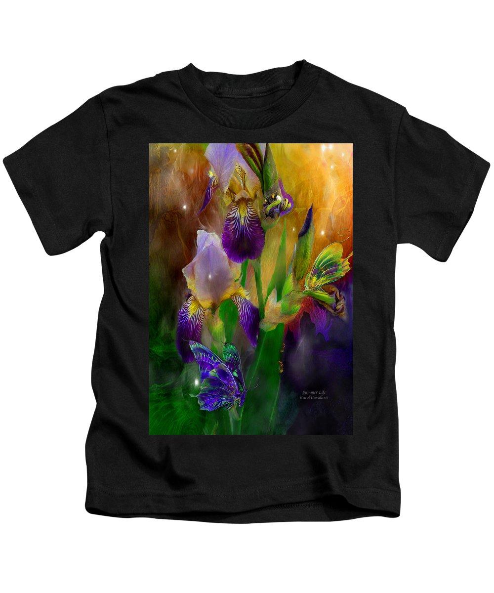 Iris Kids T-Shirt featuring the mixed media Summer Life by Carol Cavalaris