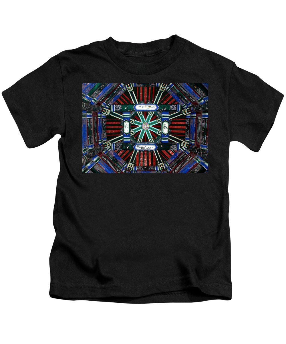 Beijing Kids T-Shirt featuring the photograph Summer Palace Ceiling by Carol Groenen