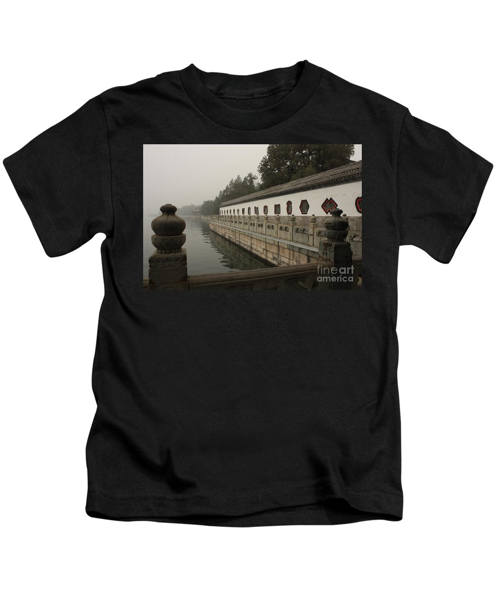 Summer Palace Kids T-Shirt featuring the photograph Summer Palace Pond With Ornate Balustrades by Carol Groenen