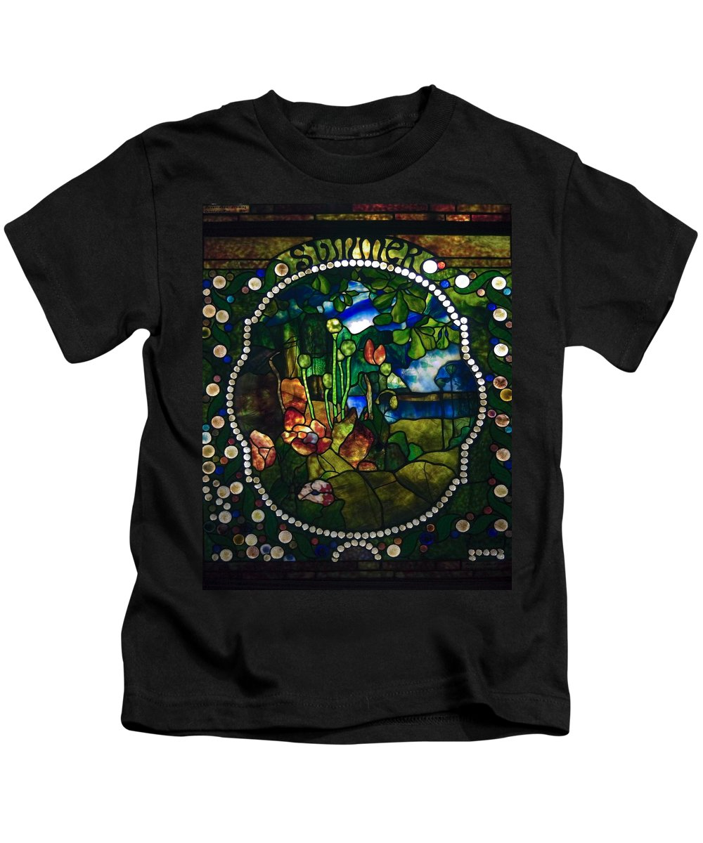 Stained Glass Panel Kids T-Shirt featuring the photograph Summer Stained Glass Panel by Sally Weigand