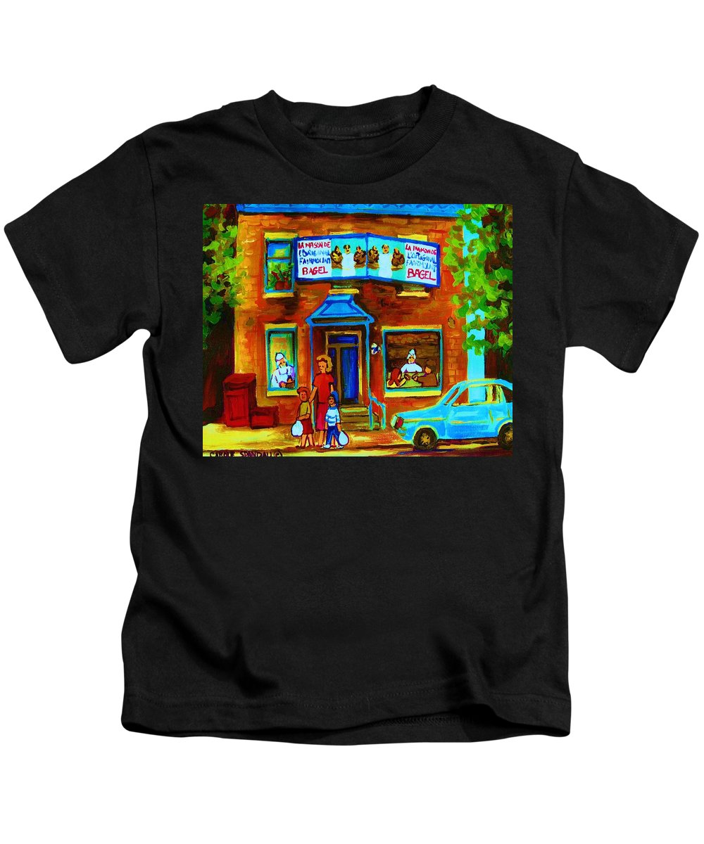 Mom And Tots Kids T-Shirt featuring the painting Summers With Mom At Fairmount by Carole Spandau
