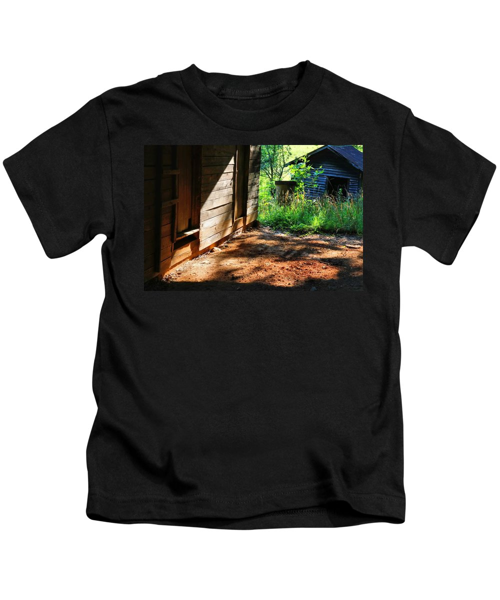 Barn Kids T-Shirt featuring the photograph Sun And Shadow 2 by Kathryn Meyer