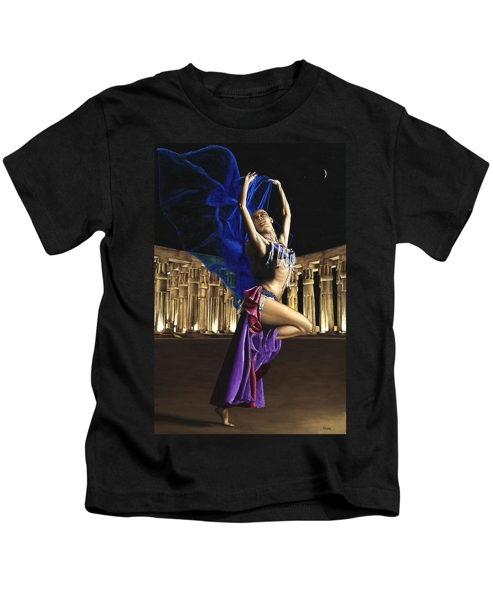 Belly Kids T-Shirt featuring the painting Sun Court Dancer by Richard Young