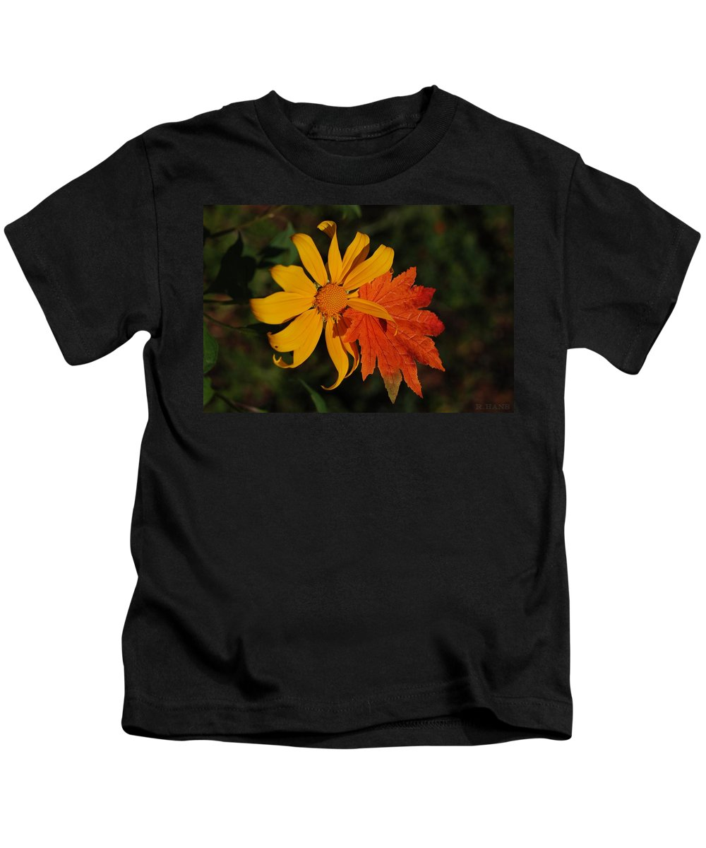 Pop Art Kids T-Shirt featuring the photograph Sun Flower And Leaf by Rob Hans