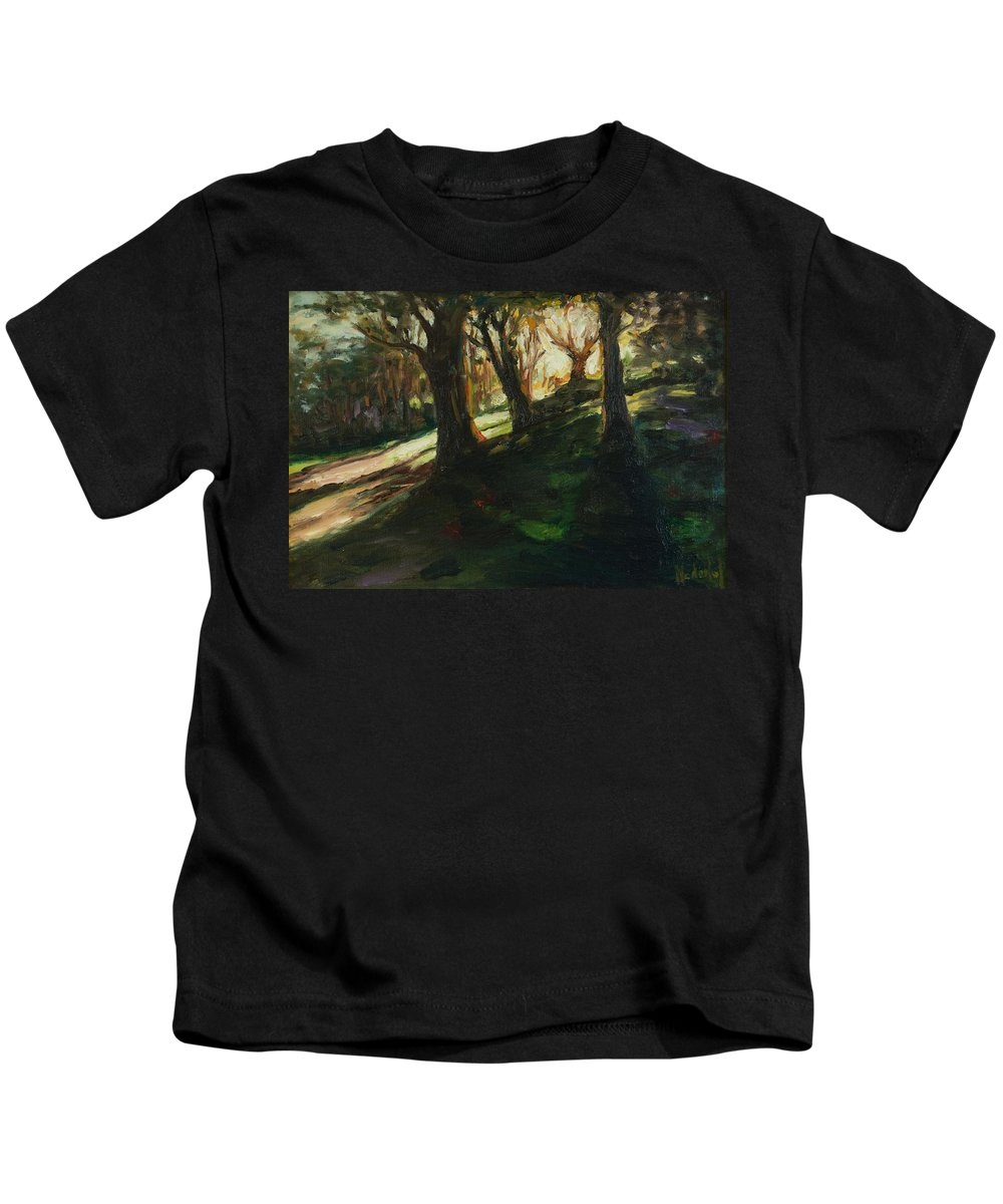 Trees Kids T-Shirt featuring the painting Sun by Rick Nederlof