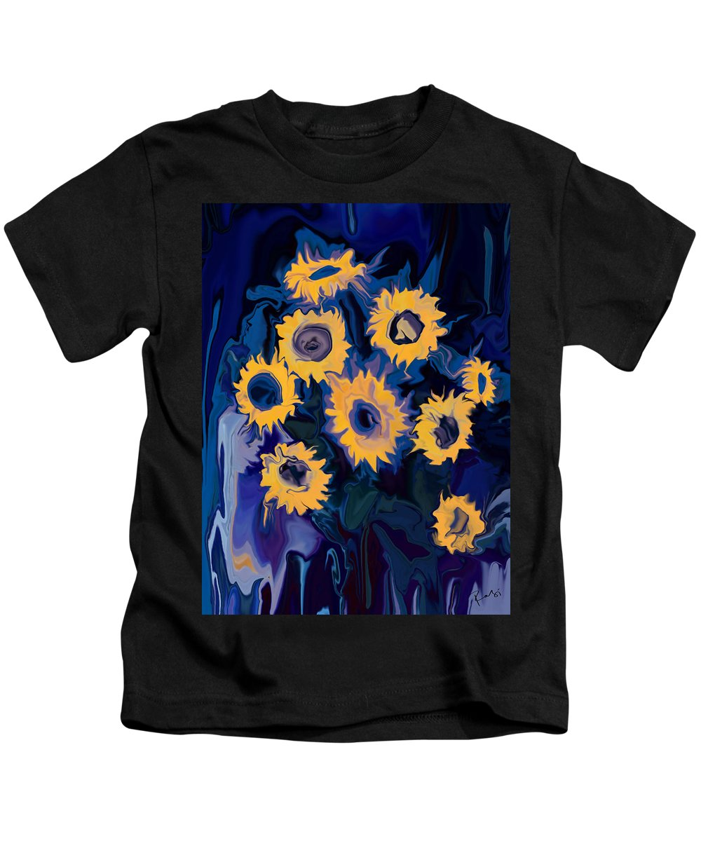 Art Kids T-Shirt featuring the digital art Sunflower 1 by Rabi Khan