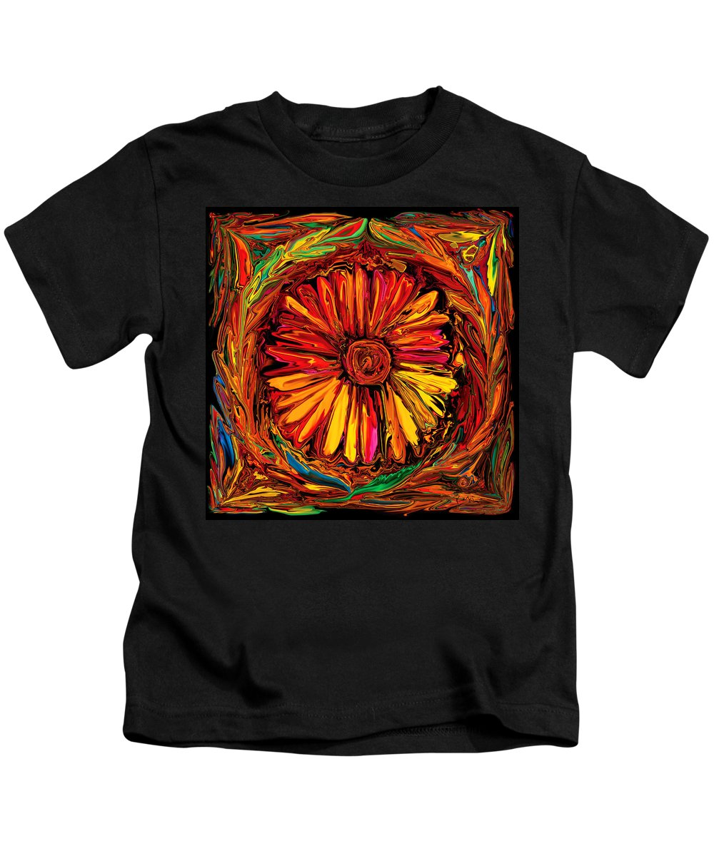 Art Kids T-Shirt featuring the digital art Sunflower Emblem by Rabi Khan