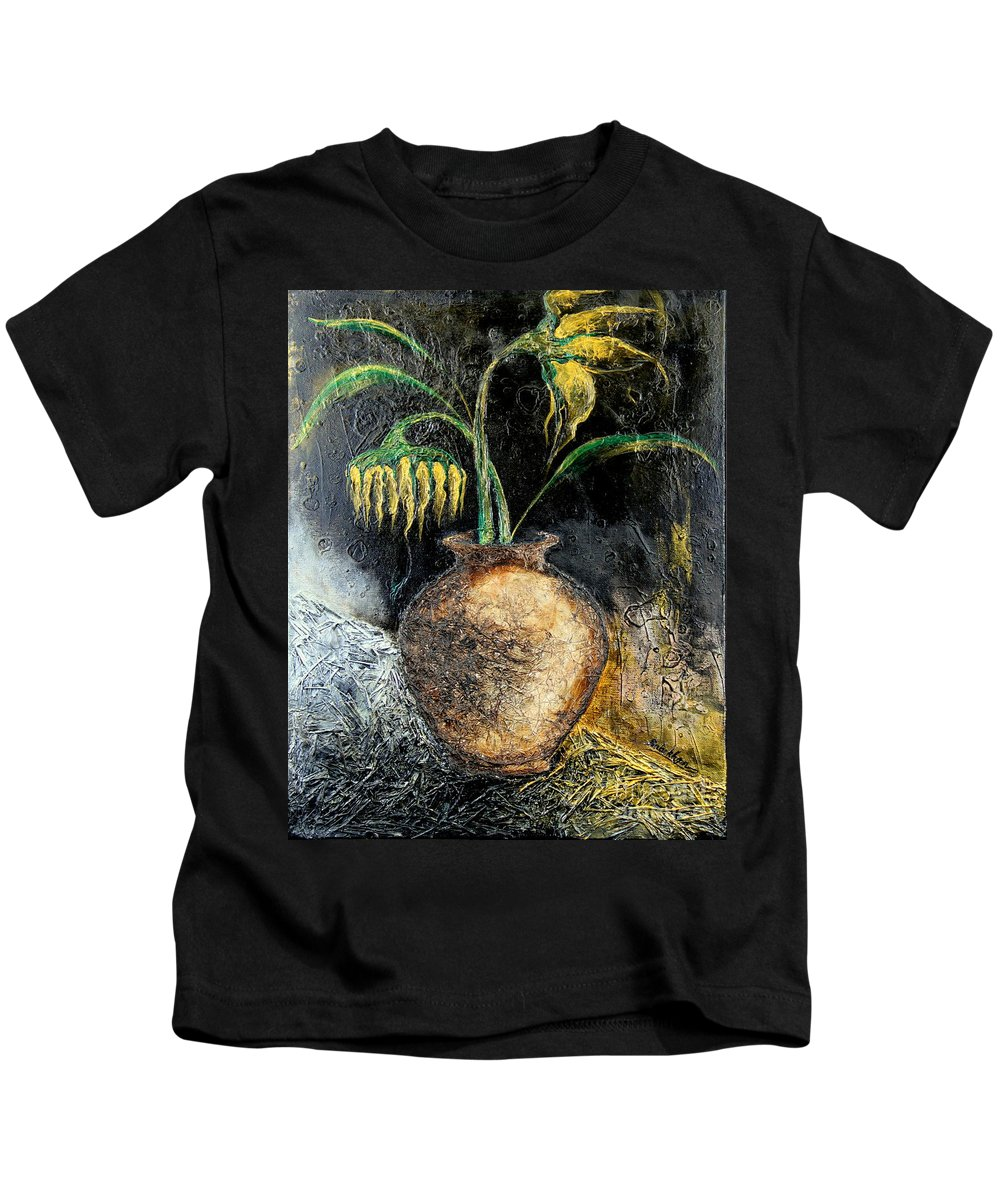 Sunflower Kids T-Shirt featuring the painting Sunflower by Farzali Babekhan