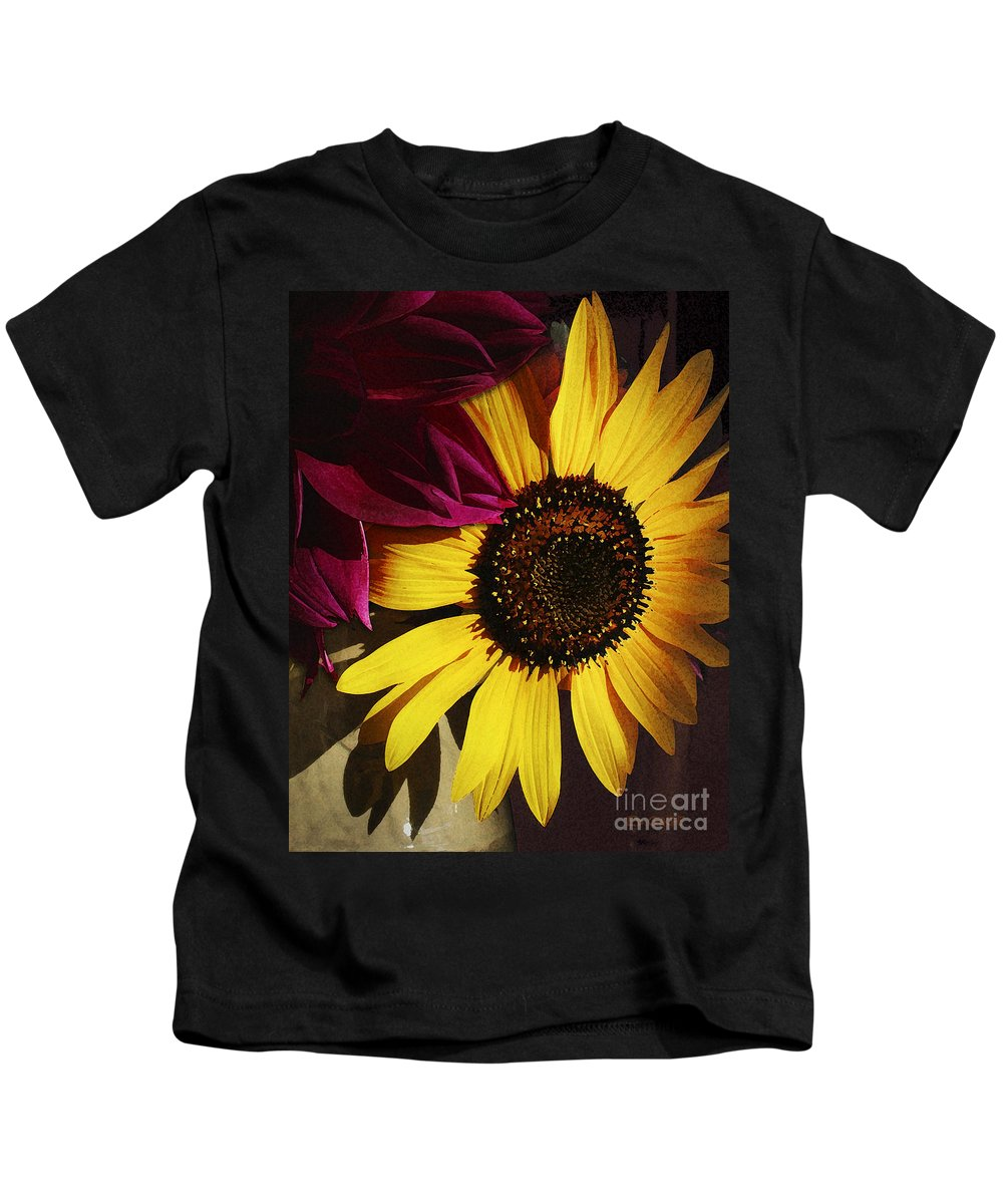 Flower Kids T-Shirt featuring the photograph Sunflower With Dahlia by Ed A Gage