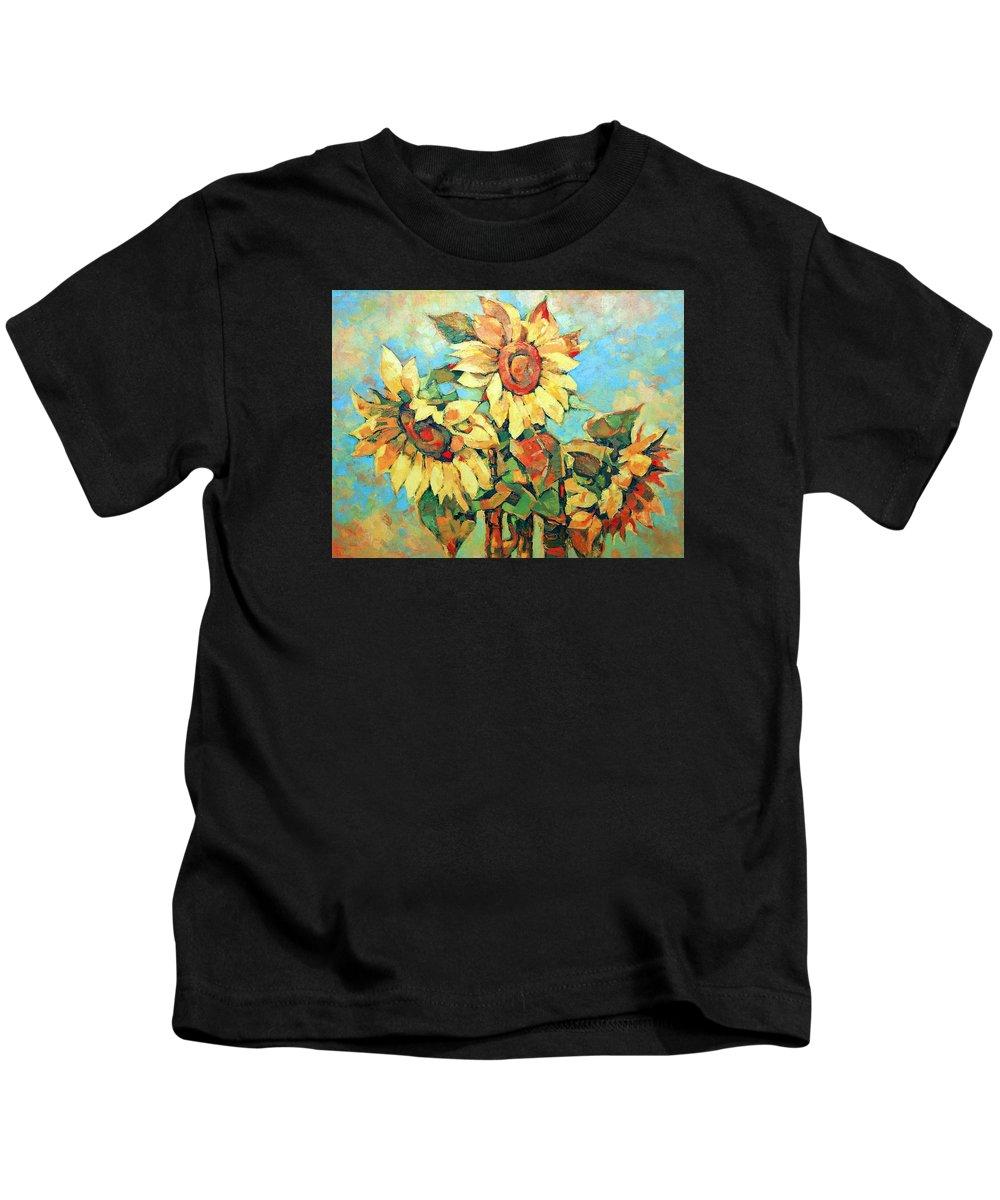 Sunflowers Kids T-Shirt featuring the painting Sunflowers by Iliyan Bozhanov