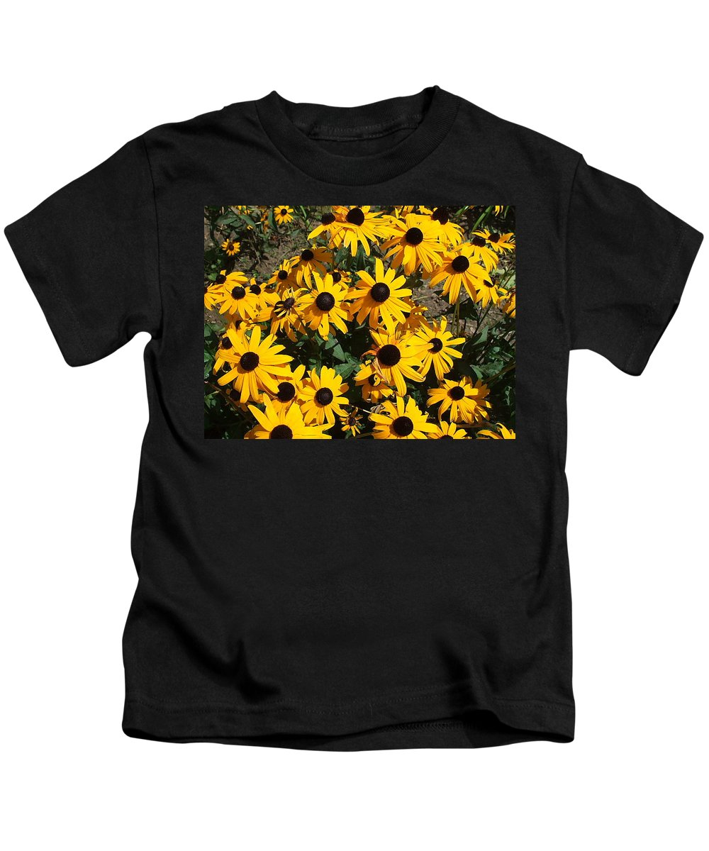 Landscape Kids T-Shirt featuring the photograph Sunflowers by Jo Dawkins