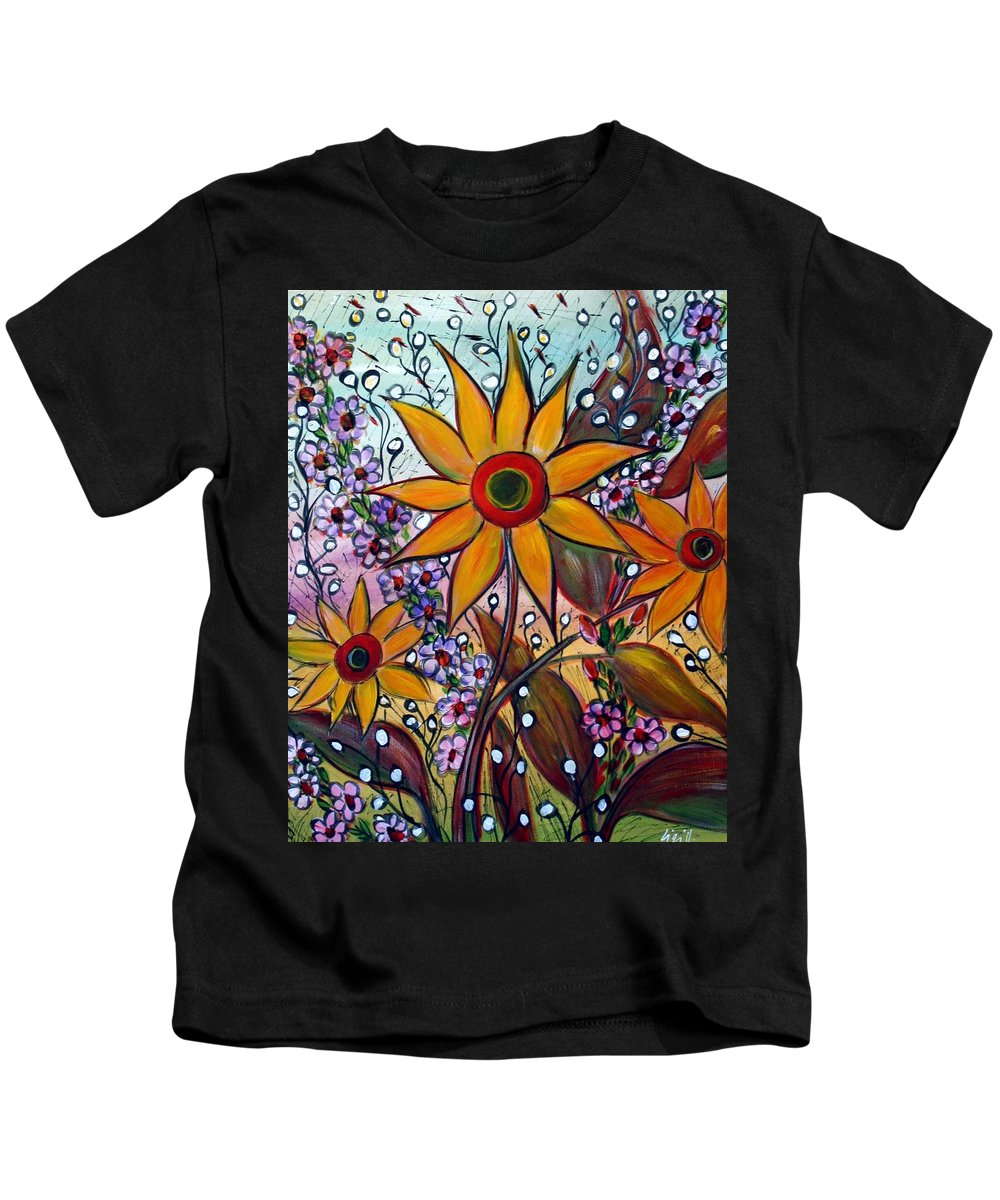 Flowers Kids T-Shirt featuring the painting Sunflowers by Luiza Vizoli