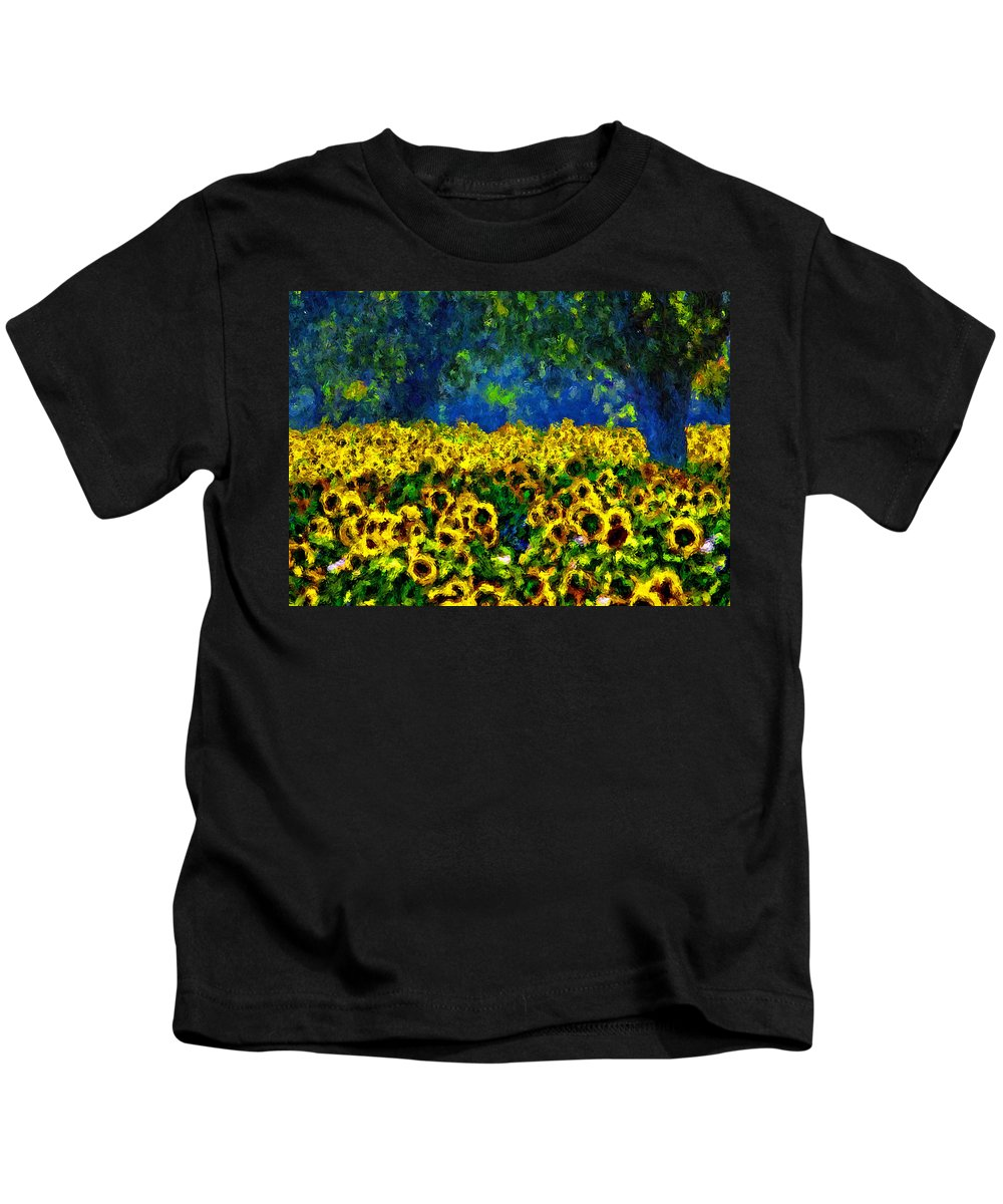 Sunflowers Kids T-Shirt featuring the painting Sunflowers No2 by Michael Thomas