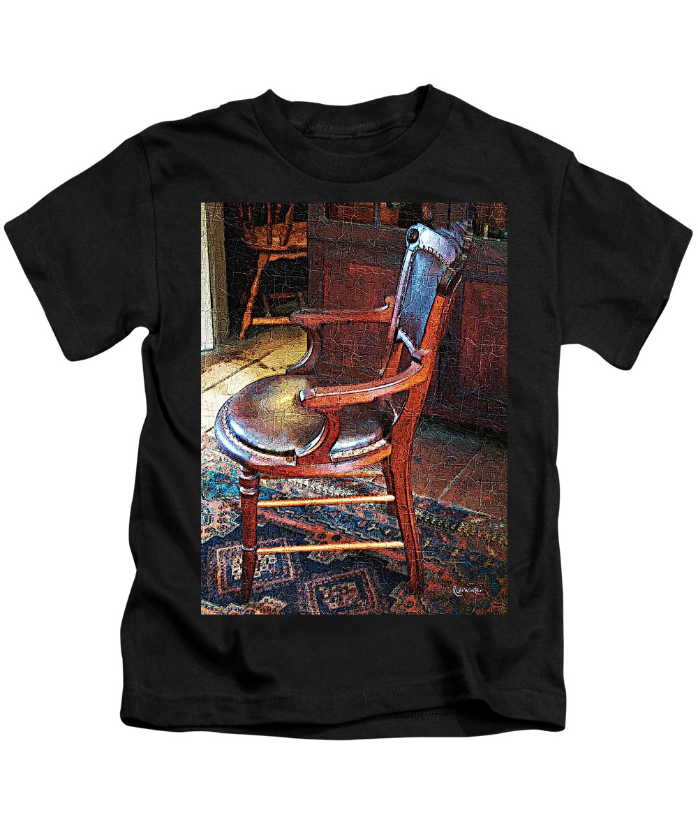 Antiques Kids T-Shirt featuring the digital art Sunlight On Leather Chair by RC DeWinter