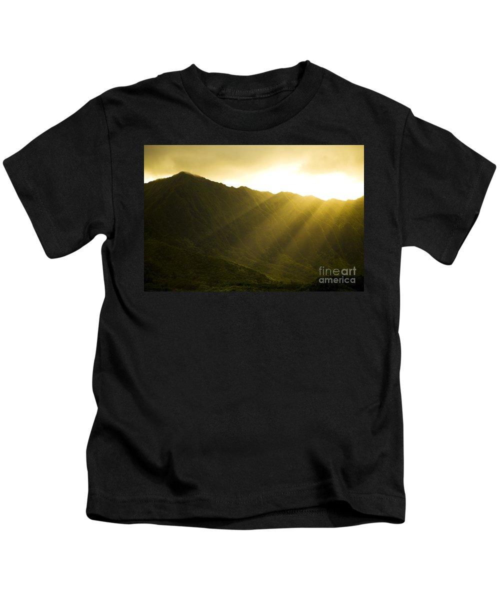 Bright Kids T-Shirt featuring the photograph Sunlight Over Kualoa Ranch by Dana Edmunds - Printscapes