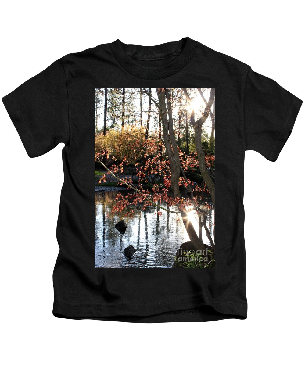 Maple Tree Kids T-Shirt featuring the photograph Sunlight Through Japanese Maple by Carol Groenen