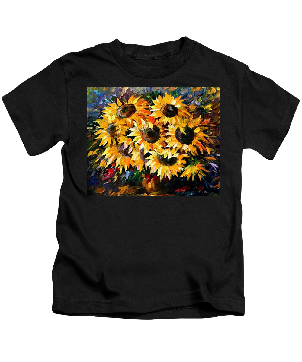 Floral Kids T-Shirt featuring the painting Sunny Bouquet by Leonid Afremov