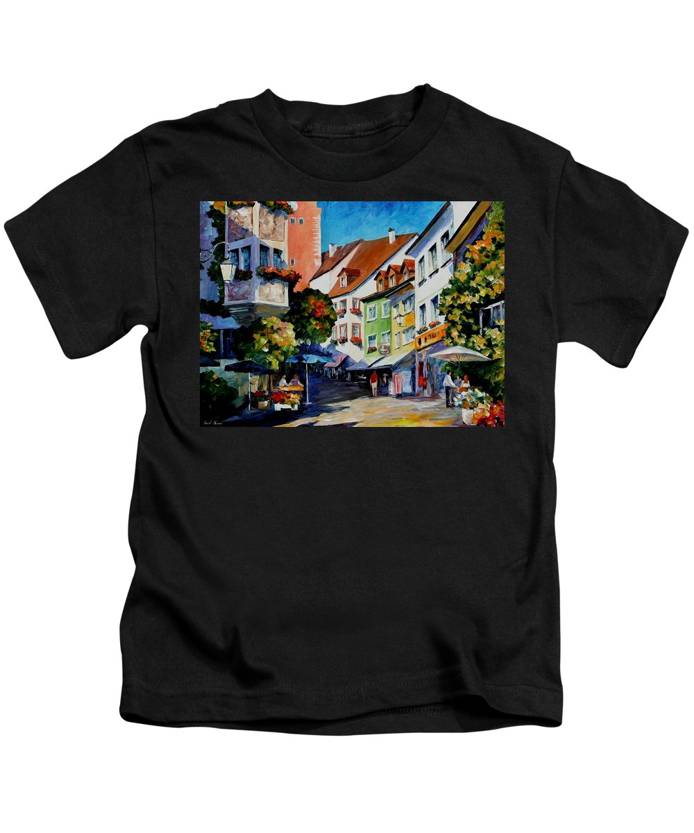 Afremov Kids T-Shirt featuring the painting Sunny Meersburg - Germany by Leonid Afremov