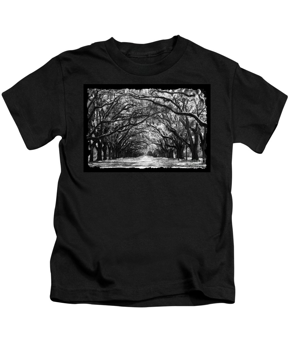 Live Oaks Kids T-Shirt featuring the photograph Sunny Southern Day - Black And White With Black Border by Carol Groenen