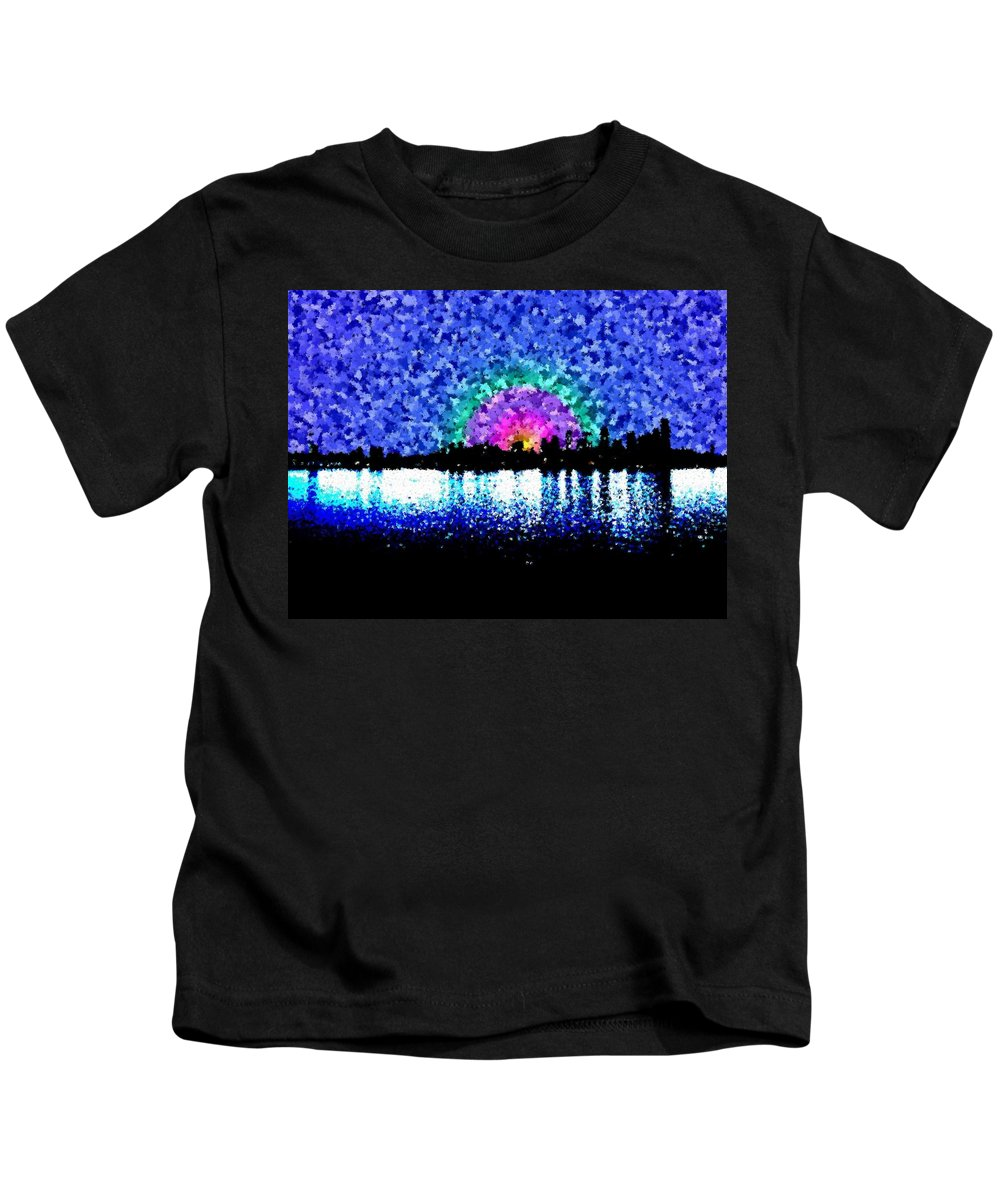 Sunrise Kids T-Shirt featuring the digital art Sunrise And The City by Tim Allen