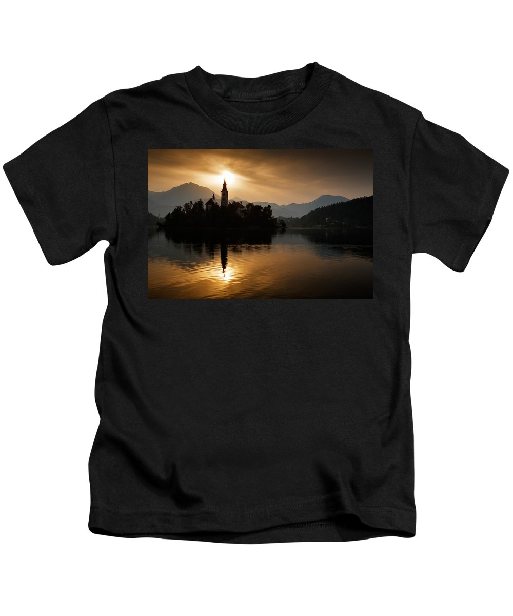 Bled Kids T-Shirt featuring the photograph Sunrise At Lake Bled by Ian Middleton