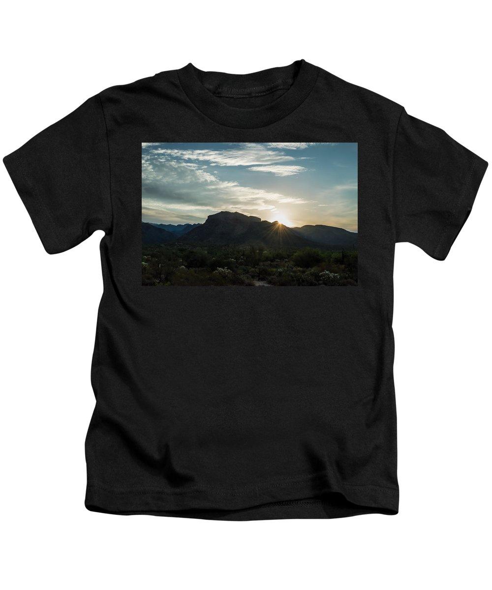 Arizona Kids T-Shirt featuring the photograph Sunrise At Sabino Canyon by Ray Sheley