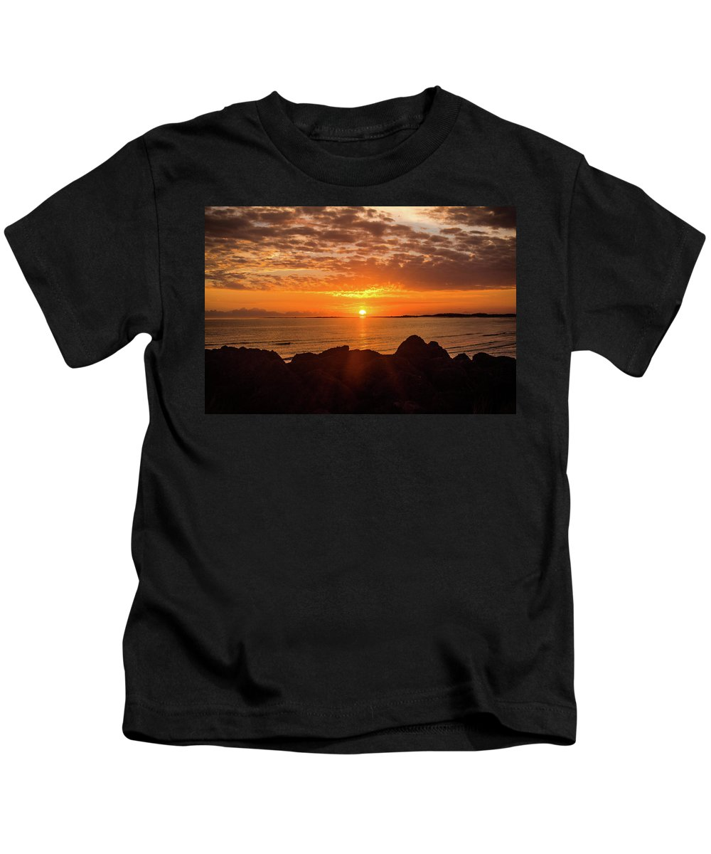 Outer Banks Kids T-Shirt featuring the photograph Sunrise At The Jetty by Paula OMalley