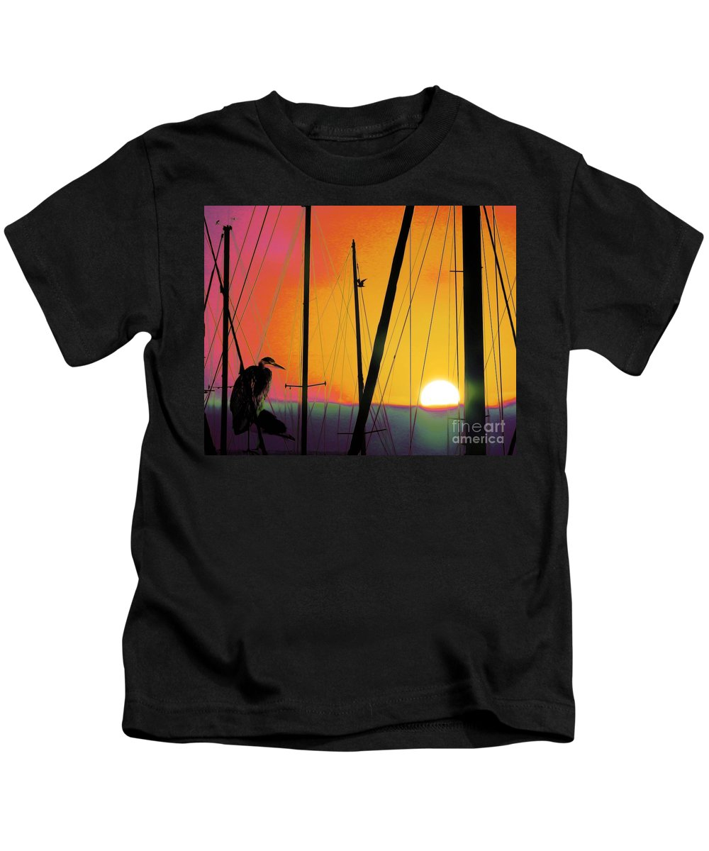 Sunrise-at The-marina Kids T-Shirt featuring the photograph Sunrise At The Marina by Scott Cameron