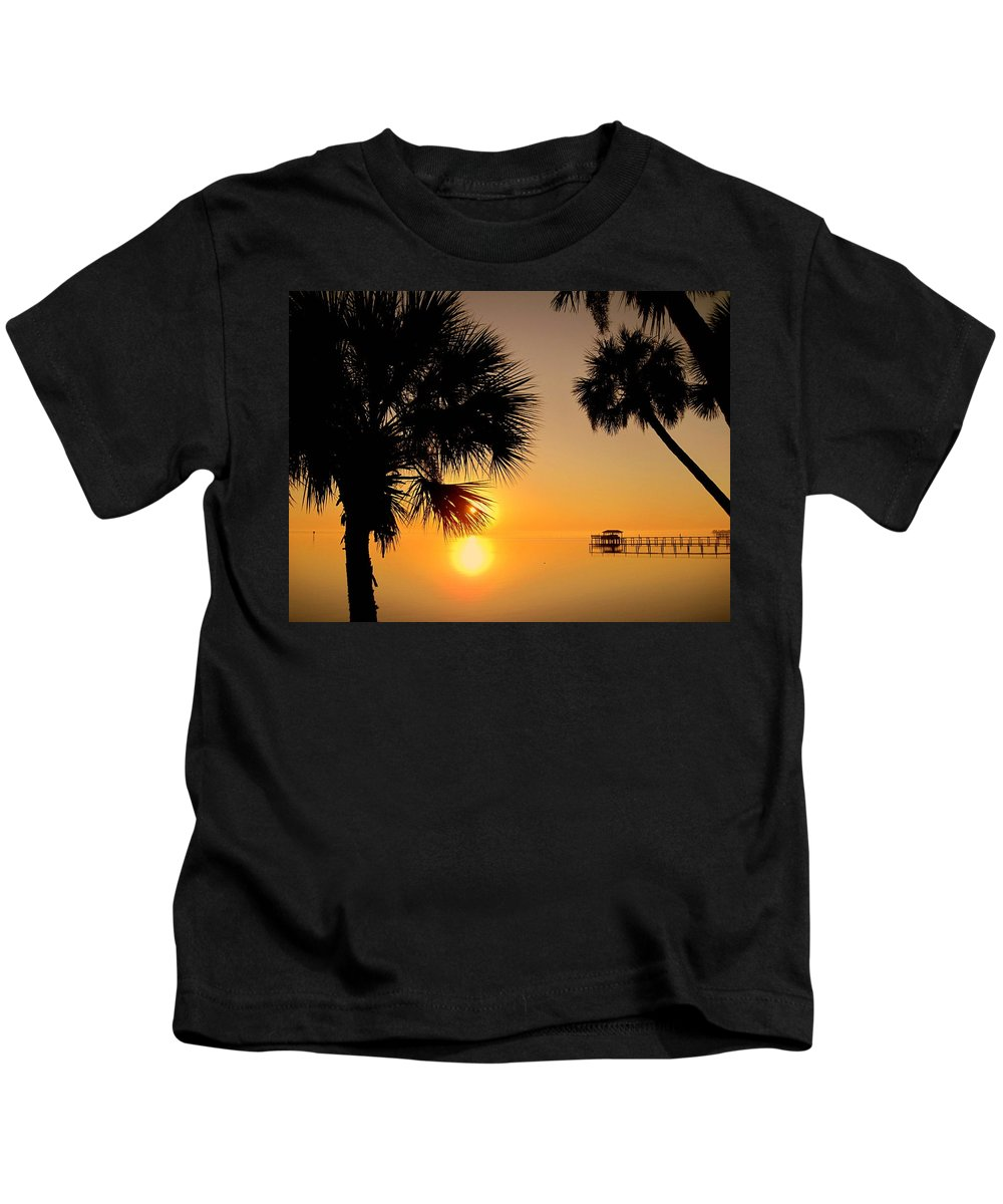 Sunrise Kids T-Shirt featuring the photograph Sunrise At The Space Coast Fl by Susanne Van Hulst