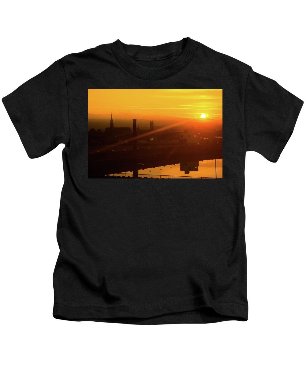 Sunrise Kids T-Shirt featuring the photograph Sunset Belfast by Mike Shaw