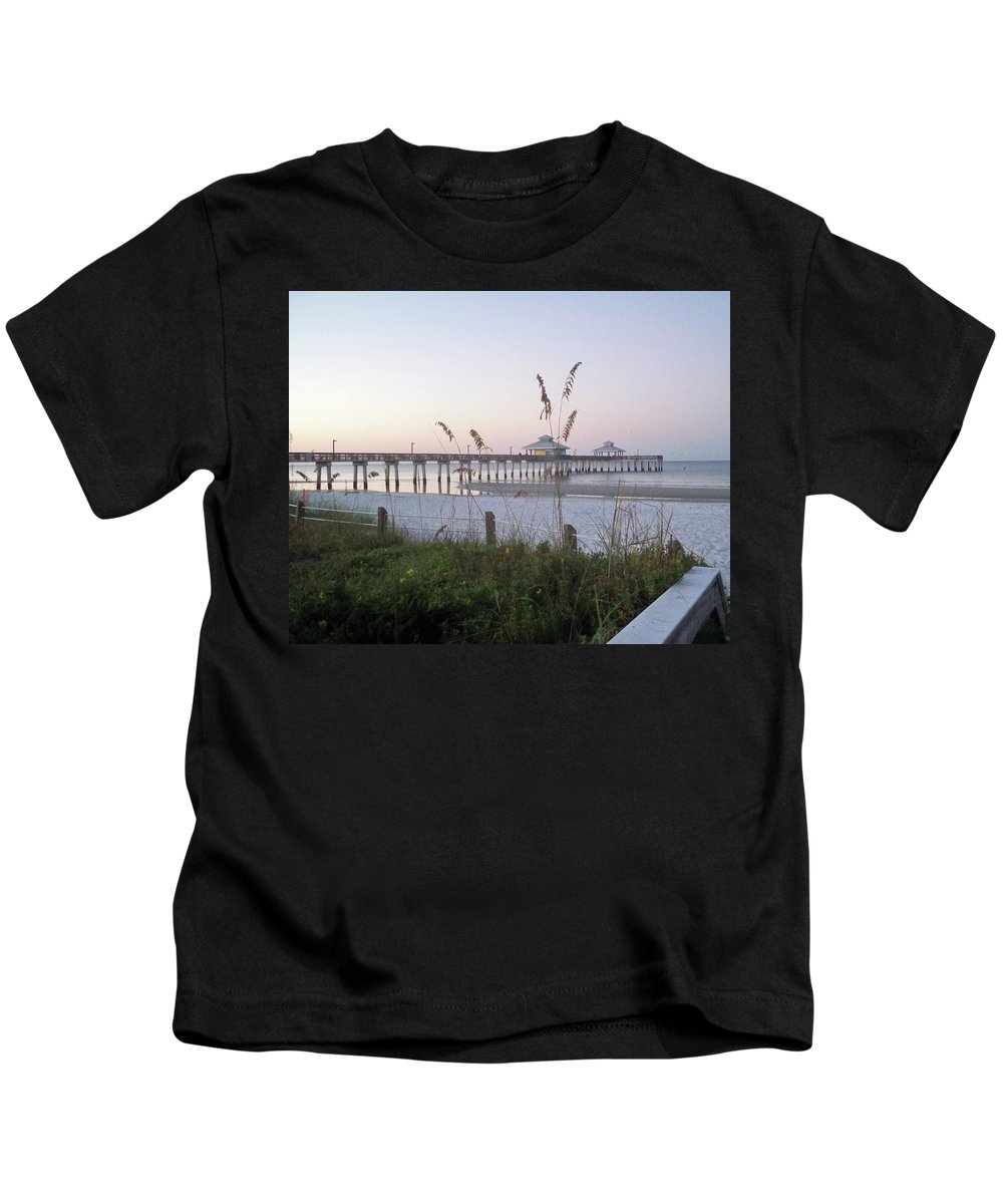 Florida Kids T-Shirt featuring the photograph Sunrise Beyond Pier by Chris Andruskiewicz