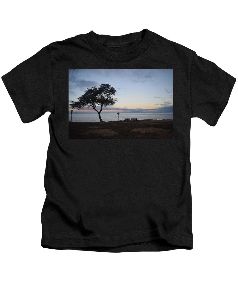 Sunrise Kids T-Shirt featuring the photograph Sunrise, Moonfall by Samantha Peel