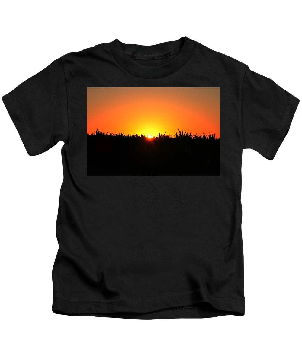Sunrise Kids T-Shirt featuring the photograph Sunrise Over Corn Field by Bill Cannon