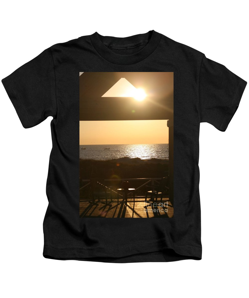 Sunrise Kids T-Shirt featuring the photograph Sunrise Through The Pavilion by Nadine Rippelmeyer