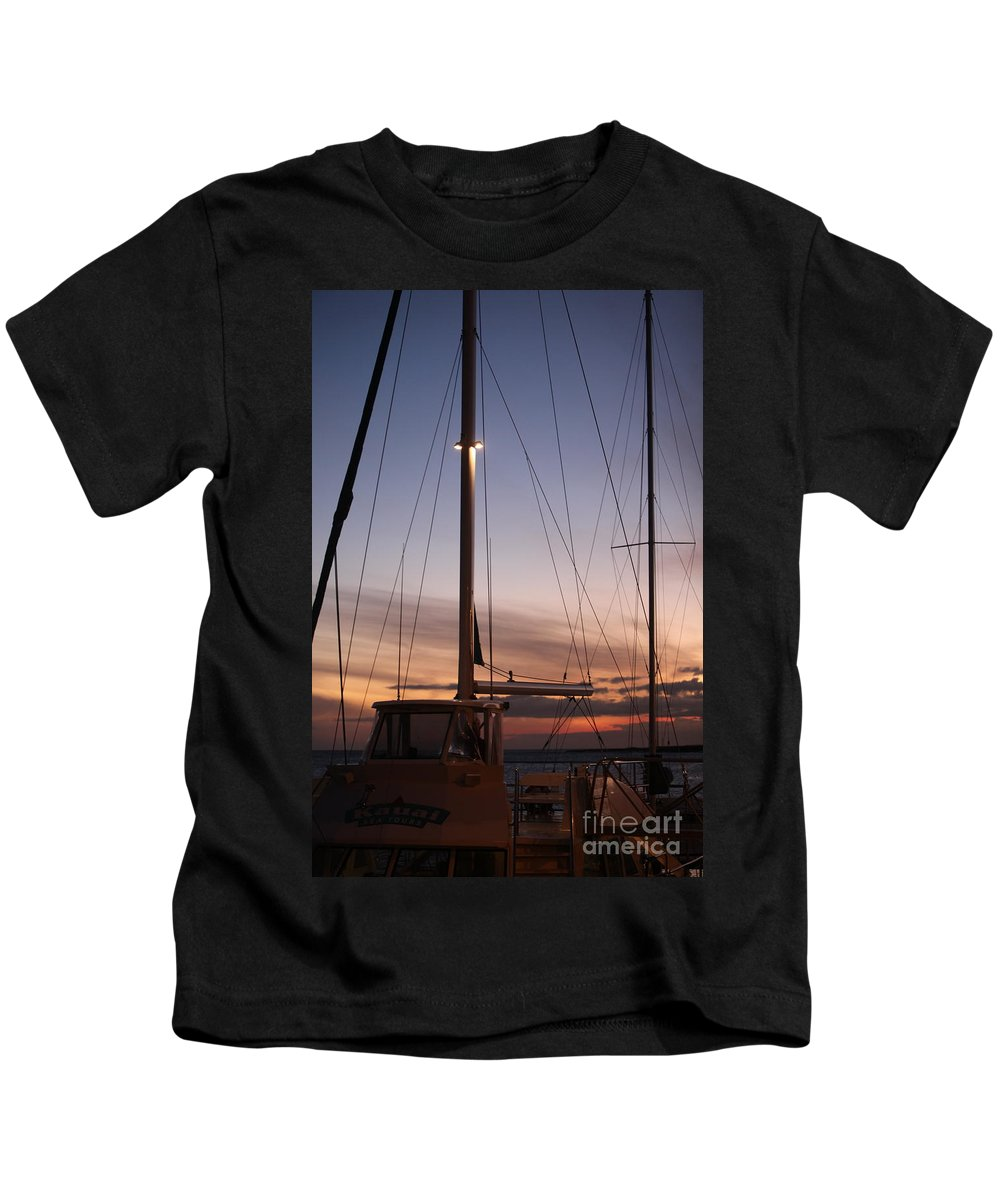 Sunset Kids T-Shirt featuring the photograph Sunset And Sailboat by Nadine Rippelmeyer