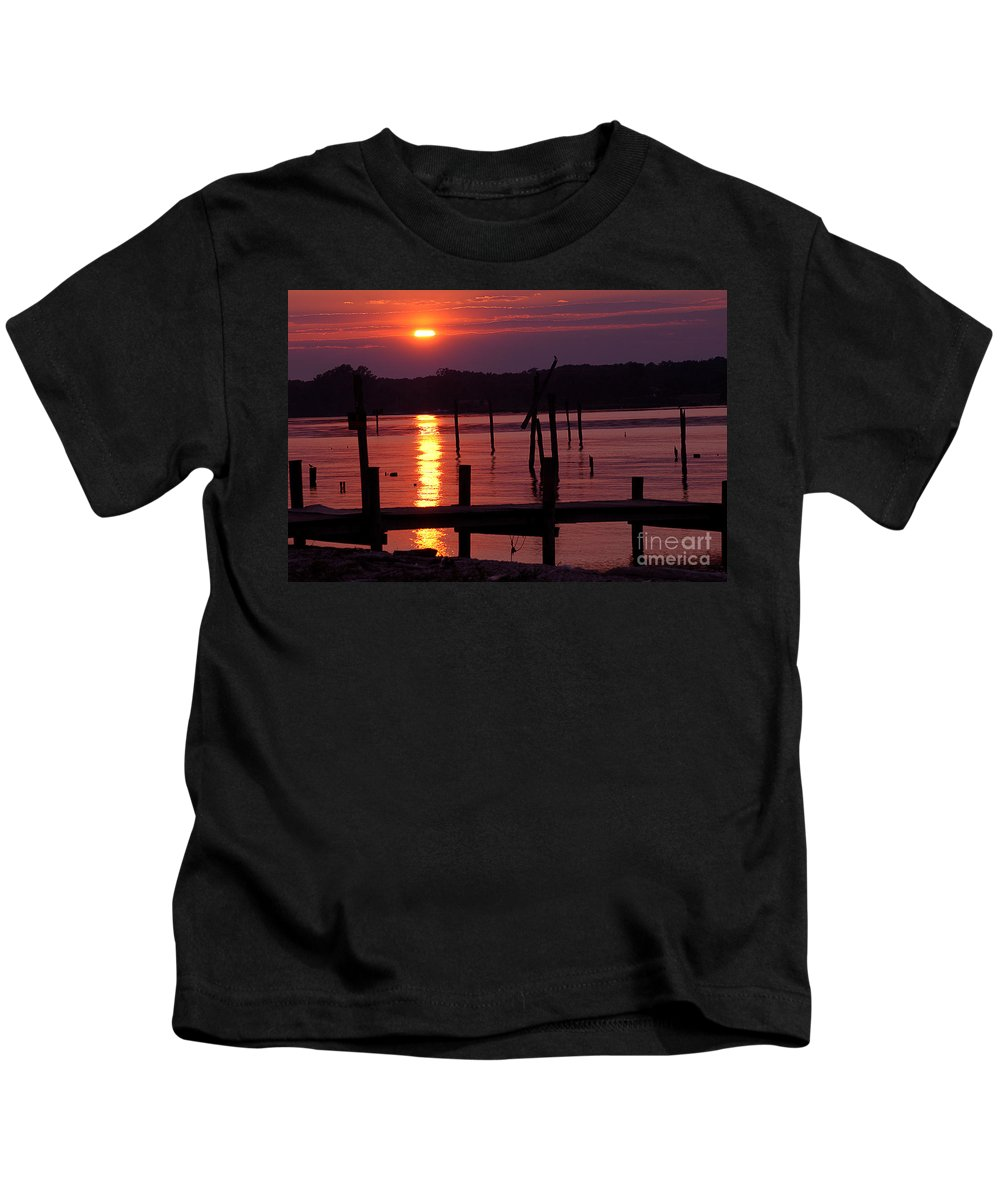 Clay Kids T-Shirt featuring the photograph Sunset At Colonial Beach by Clayton Bruster