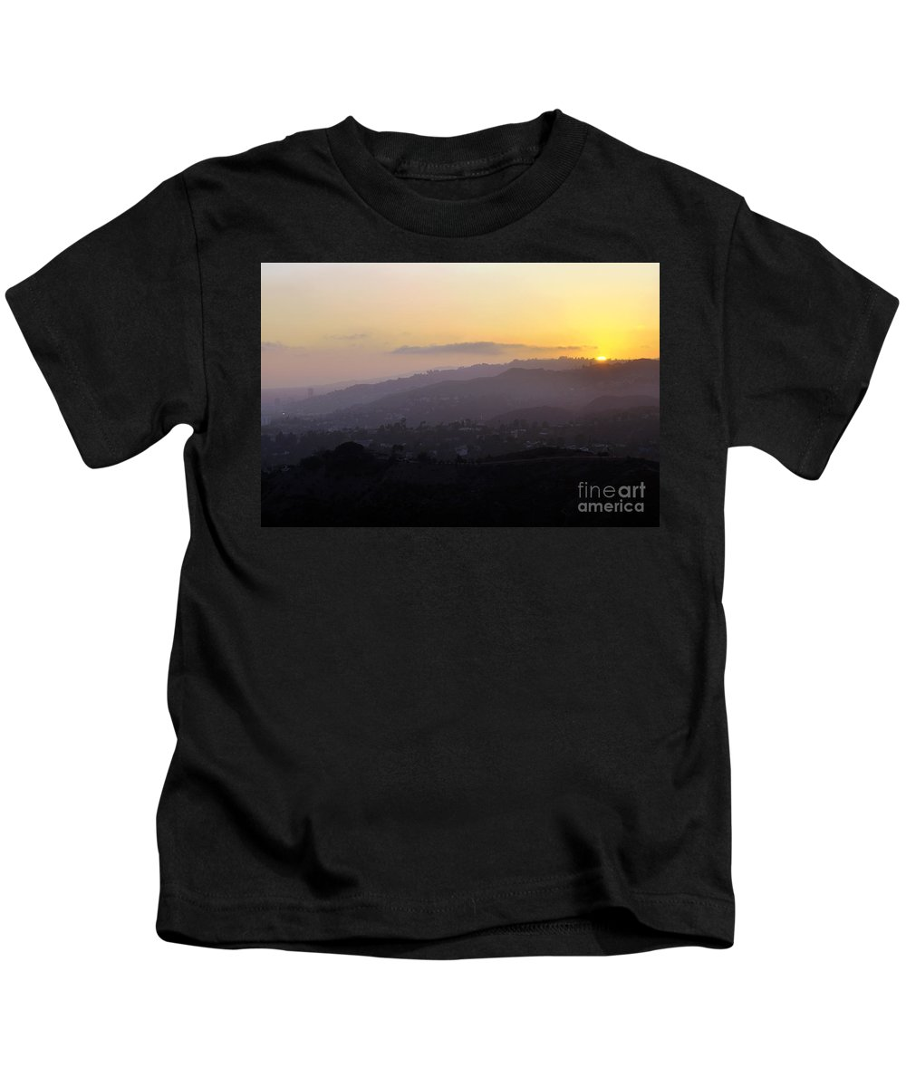 Clay Kids T-Shirt featuring the photograph Sunset At Griffeth Observatory by Clayton Bruster